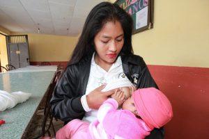 A breastfeeding mother